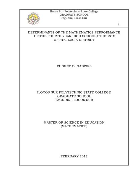 thesis title about mathematics education determinants of the mathematics performance of the iv year