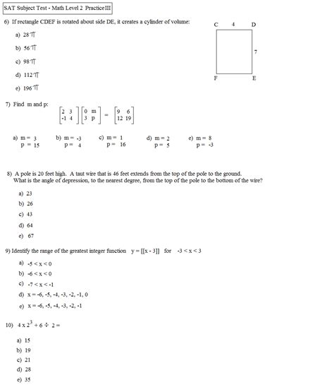 section two sat math practice sat math practice with answers math plane challenging
