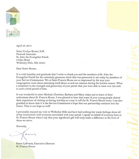 Gift Letter To Buy A House A Thank You Letter From St Francis House To St Parish For The 2015 Lenten Gift St