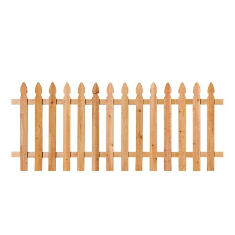 home depot fence sections 3 1 2 ft h x 8 ft w cedar spaced french gothic fence
