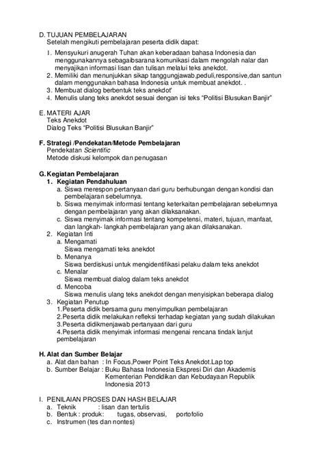 membuat dialog dari teks anekdot politisi blusukan banjir rpp sma bahasa indonesia kelas 10 se 1 tema gemar meneroka