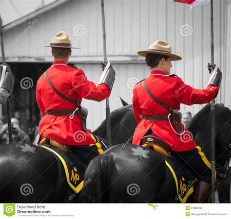 rcmp horses and maple leaf tattoo editorial stock image