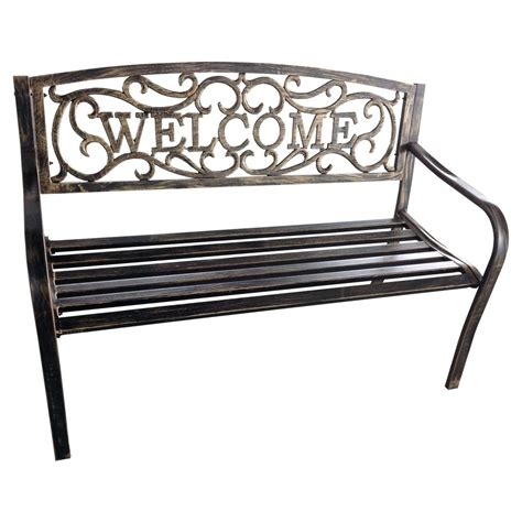 iron patio bench iron outdoor bench white metal image abovemetal garden