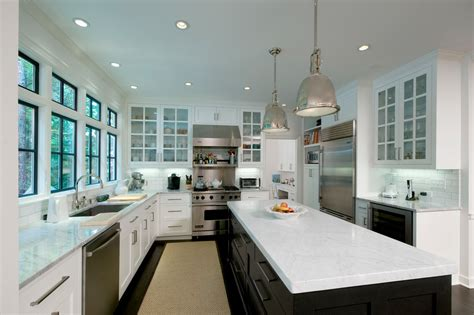 Antiqued Kitchen Cabinets by Industrial Hanging Lights Kitchen Contemporary With Black