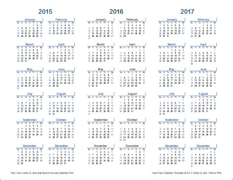 Year Of The Calendar 3 Year Calendar Template For Excel
