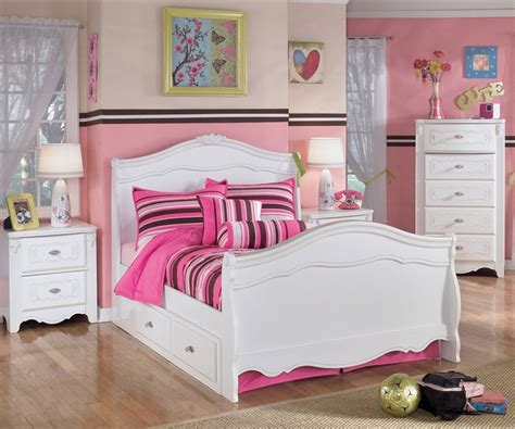 kids bedroom set for girls exquisite full size sleigh bed and trundle bed ashley