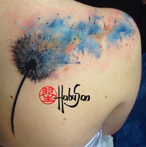 watercolor tattoo wien pusteblume mit watercolour element danke liebe marlene