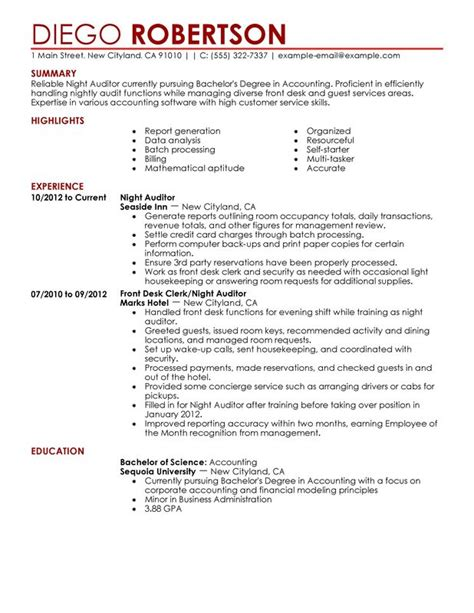 Resume Samples Truck Drivers Objective by Night Auditor Resume Sample My Perfect Resume