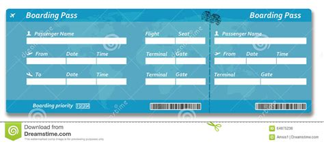 blank airline boarding pass ticket stock photo image