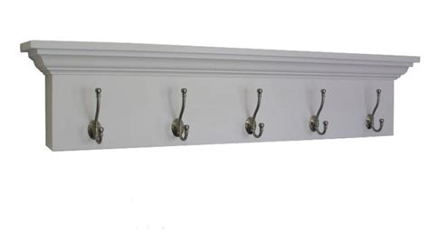 White Shelf With Hooks by Ashton Entryway Coatrack Shelf Solid White Traditional
