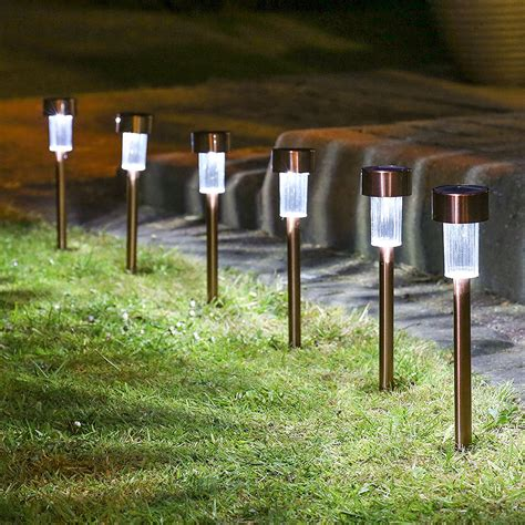 modern solar l post 10 x stainless steel solar lights powered garden post path