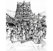 Urban Life Outside Temple Drawing By Aparna Raghunathan