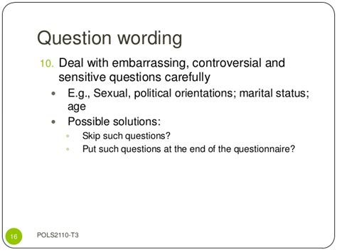 Embarrassing Or Question Questionnaire Design