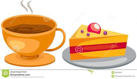 clipart kaffee und kuchen stellen sie kaffeetasse mit kuchen ein vektor abbildung