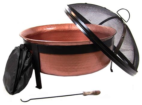 Copper Moon Landscape Lighting - outdoor classics hammered fire pit with copper finish traditional fire pits