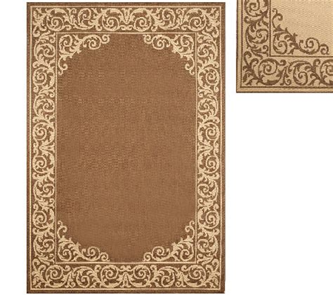 Qvc Outdoor Rugs Veranda Living 5 X 7 Border Scroll Indoor Outdoor Reversible Rug Qvc