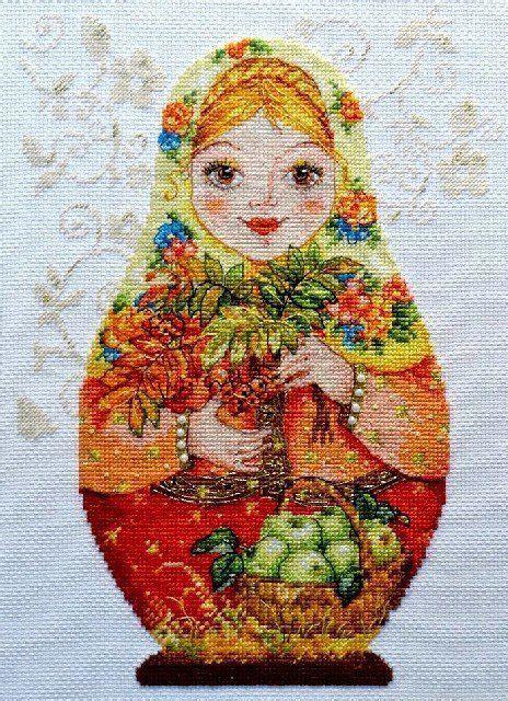leslie mann natal chart counted cross stitch kit alisa nesting dolls autumn red