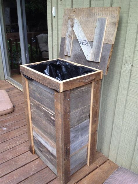 rustic trash can designed for outdoor kitchen made from