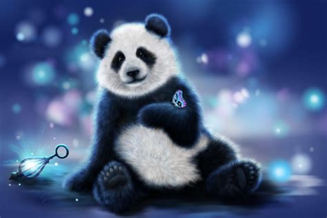 blue black and wight panda butterfly on cute panda hand animated wallpaper wallpaper