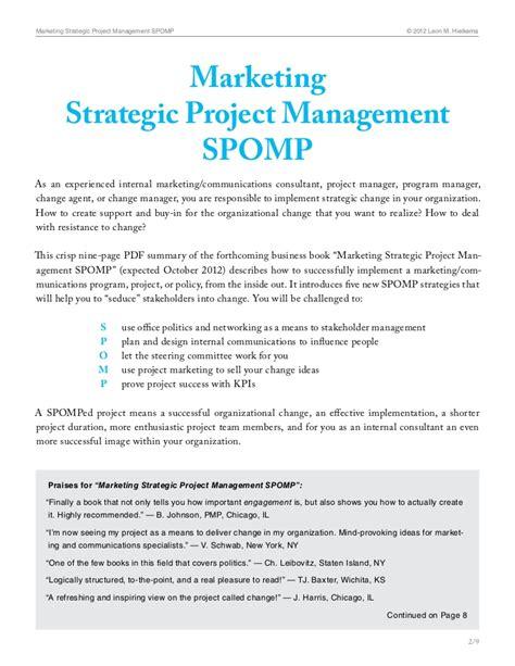 marketing strategic project management spomp an inspiring