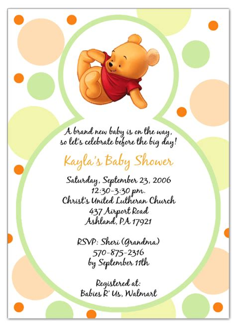 Winnie The Pooh Birthday Card Template by Free Winnie The Pooh Invitation Template