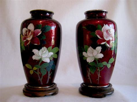 pair pigeon blood cloisonne vases for sale antiques