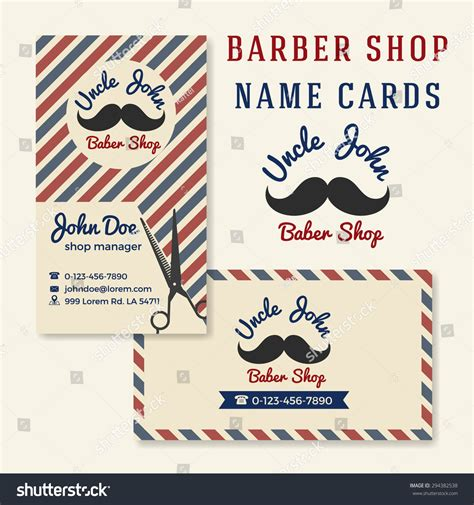 vintage name card template vintage barber shop business name card stock vector