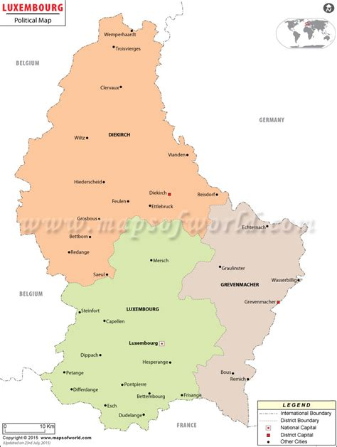 where is luxembourg on the map political map of luxembourg luxembourg districts map