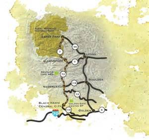 colorado scenic byways map peak to peak from colorado springs in winter estes park