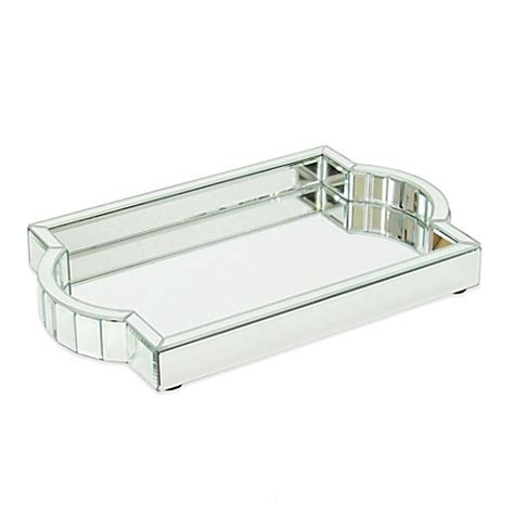 Mirrored Bathroom Tray | wayborn crystal cut mirrored vanity tray bed bath beyond