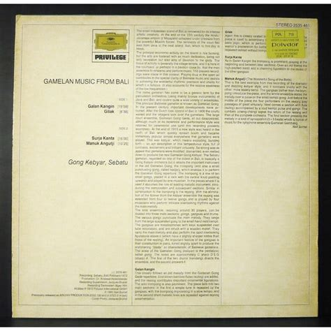 Gamelan music from bali by Gong Kebyar De Sebatu, LP with