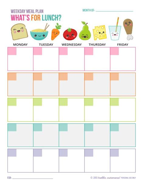 lunch calendar template 17 best ideas about meal planning calendar on
