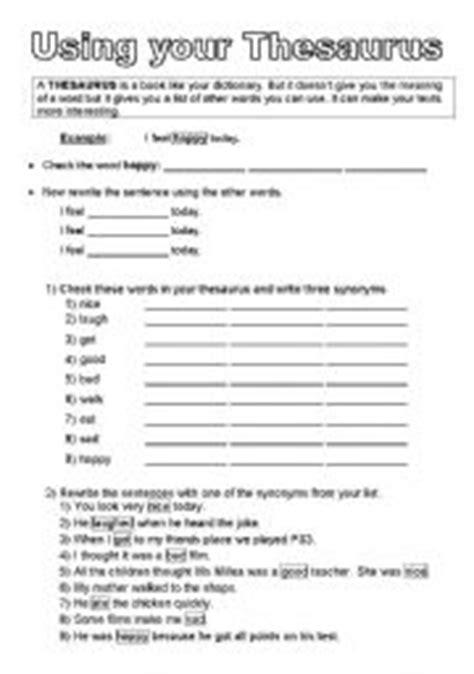 english worksheets using a thesaurus