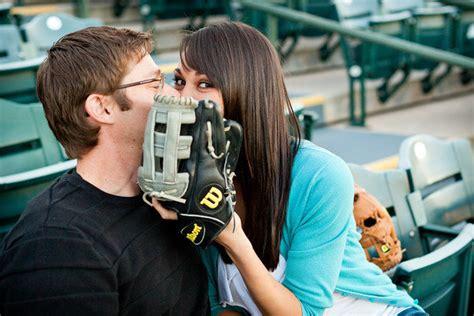 play ball baseball themed engagement  bridalguide