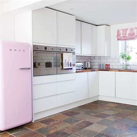pink and white kitchen interior exterior doors