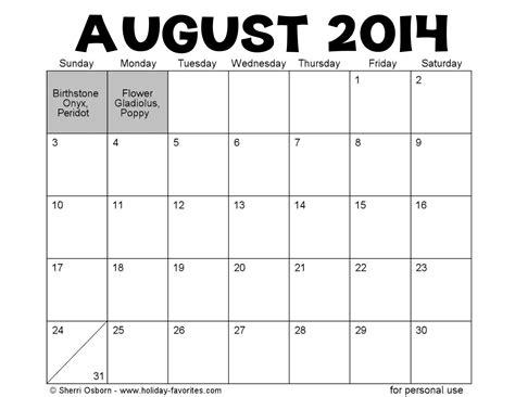 August Calendar 2014 August 2014 Activity Calendar For Seniors