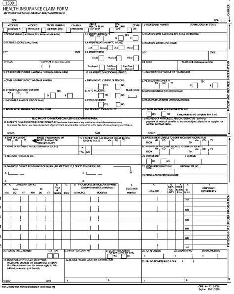 free cms 1500 form template claim form claim form for medicare