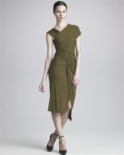 jersey draped dress donna karan new york draped jersey dress in green lyst