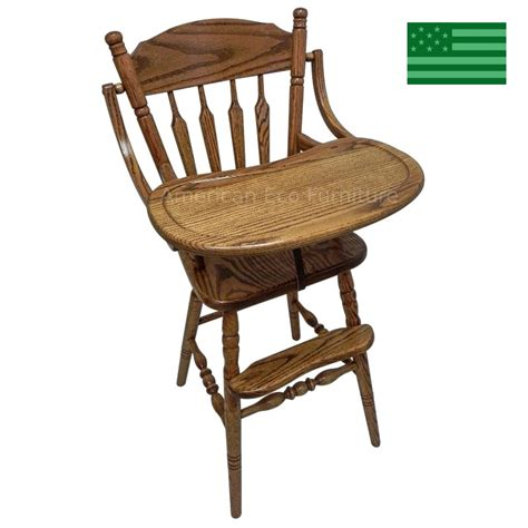 solid oak high chair amish handcrafted astoria baby high chair solid wood
