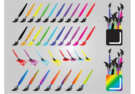 colorful paint brushes free vector stock