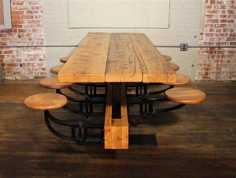 Cast Iron Dining Table And Chairs Dining Table With Chairs Reclaimed Wood And Cast Iron Eight Seat Indoor Picnic For Sale At 1stdibs