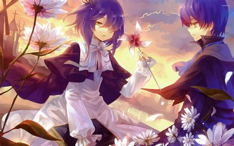 hot anime boy wallpaper boy and girl in flowers wallpaper anime wallpapers 32844