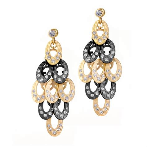 Black And Gold Chandelier Earrings Ingenious Gold And Black Rhodium Chandelier Earrings Encrusted With Cubic Zirconia Crystals
