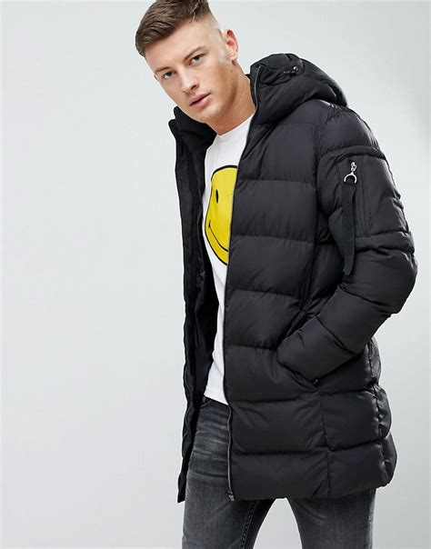 Pull And Anorak Quilted Jacket Black lyst pull puffer parka jacket in black in black for
