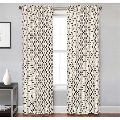 Ivory And Brown Trellis Pattern Curtain Panel