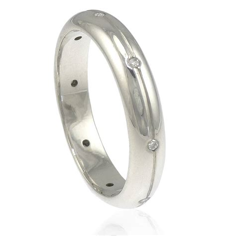 Silver Band Ring With Diamonds by Handmade Eternity Ring By Lilia Nash Jewellery