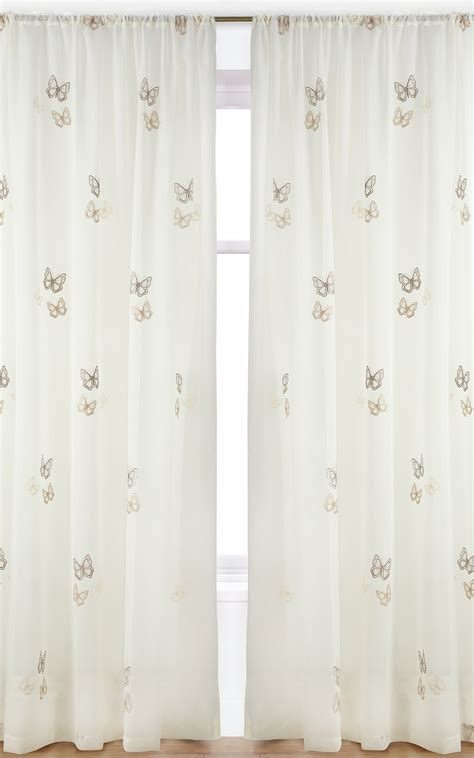 black butterfly curtains pair of butterfly embroidered voile curtain panels in