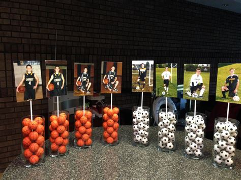 Graduation Table Decoration Ideas by Hs Graduation Open House Centerpieces Had 12 Tables Used The 3 Sports Played Golf Not