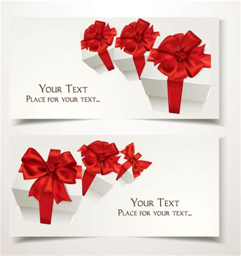 Free Holiday Gift Cards - holiday gift cards with ribbon bow vector 03 vector card vector ribbon free download