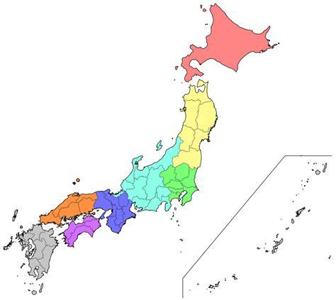 japan regions map list of regions of japan